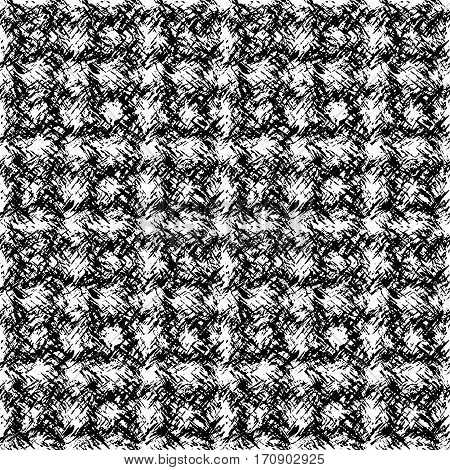 Texture directed in different directions in soft wool. Square seamless black and white pattern of the carpet.