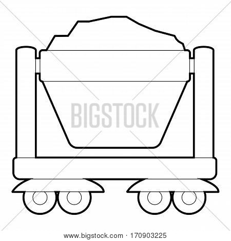 Mine cart icon. Outline illustration of mine cart vector icon for web