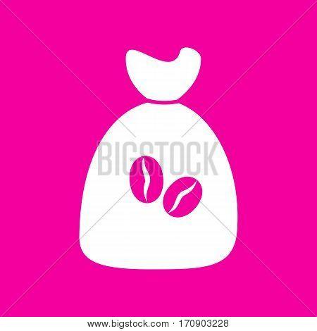 Coffee bag Icon. Coffee bag Vector. Coffee bag Icon Button. White icon at magenta background.