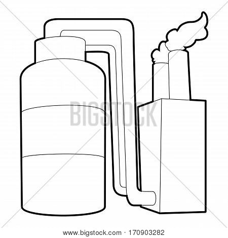 Tank and pipe icon. Outline illustration of tank and pipe vector icon for web
