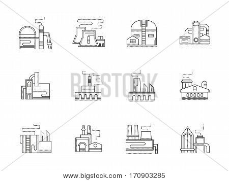 Factory and plant buildings. Manufacturing and heavy industry, power stations. Symbols for industrial architecture. Set of black flat line design vector icons.