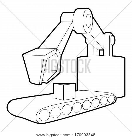 Big excavator icon. Outline illustration of big excavator vector icon for web