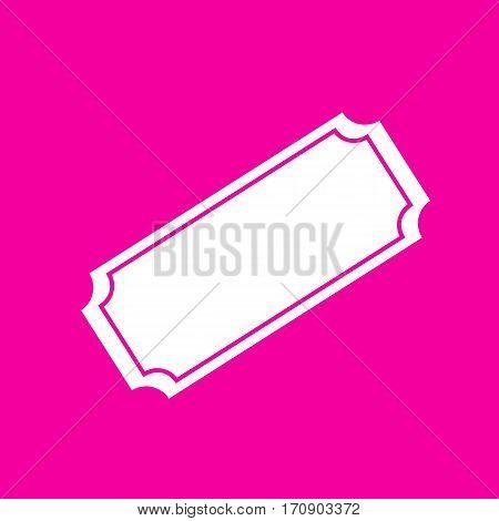 Ticket sign illustration. White icon at magenta background.