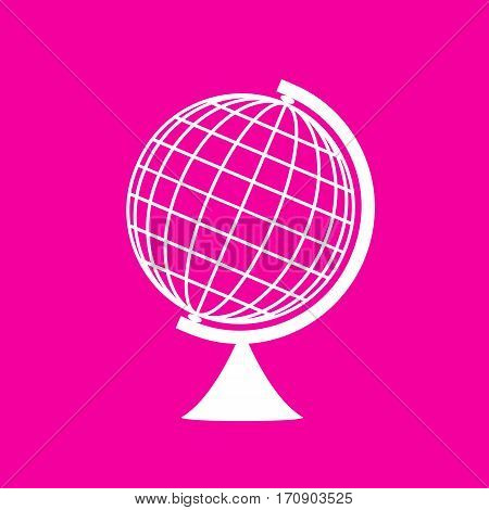 Earth Globe sign. White icon at magenta background.
