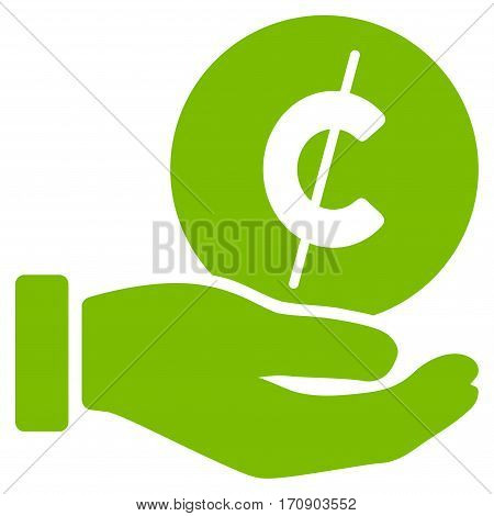 Cent Payment Hand vector pictogram. Illustration style is a flat iconic eco green symbol on white background.
