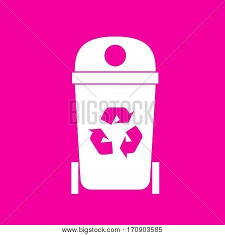 Trashcan sign illustration. White icon at magenta background.