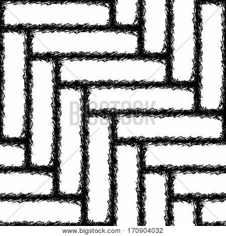 Seamless Chevron pattern texture in black and white in the form of transverse strips of rough stitched cloth
