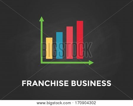 franchise business chart illustration with colourful bar, white text and black background vector