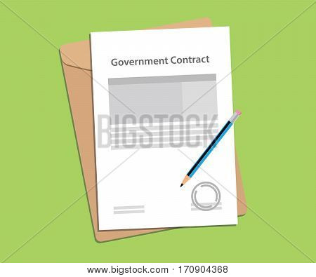 government contract letter concept with stamp, folder document and a blue pen vector