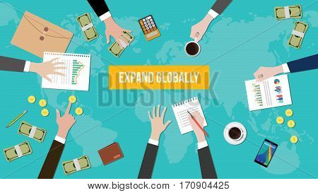 expand globally concept discussion illustration with paperworks, money and folder document on top of table vector