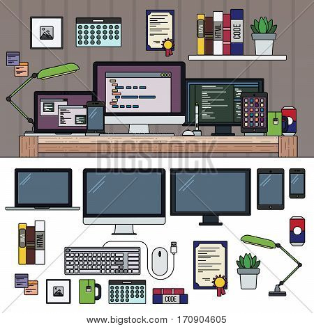 Thin line flat design of programmes working place. Cabinet full of modern technics on the table. Computer, lamp, keyboard, telephone isolated on white background