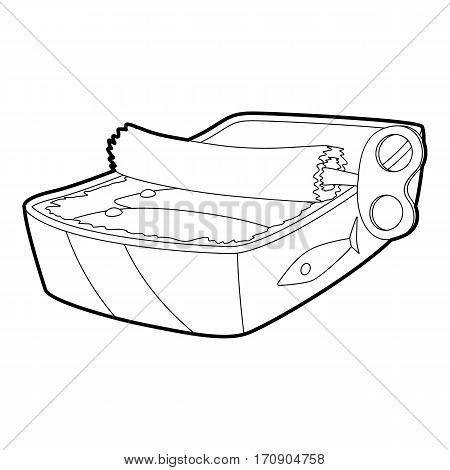 Canned fish icon. Outline illustration of canned fish vector icon for web