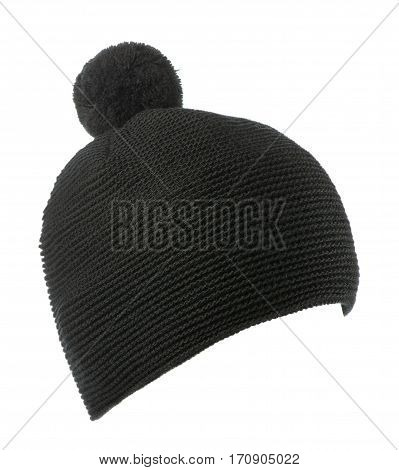 Knitted Hat Isolated On White Background .hat With Pompon . Black Hat