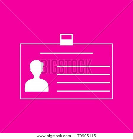 Identification card sign. White icon at magenta background.