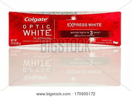 Winneconne WI - 12 February 2017: Package of Colgate optic white platinum toothpaste on an isolated background.