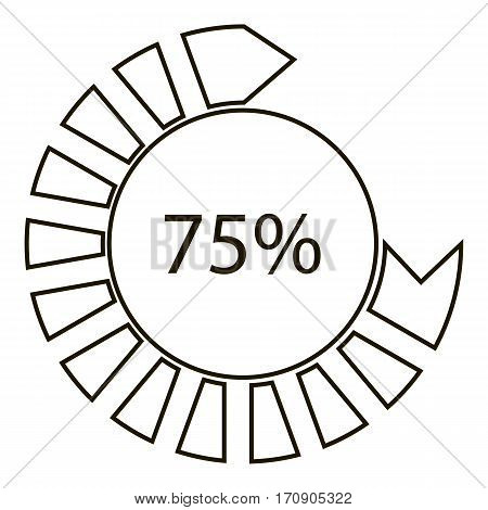 Seventy five percents infographics. Outline illustration of seventy five percents vector infographics for web