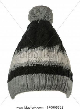 Women's Hat . Knitted Hat Isolated On White Background.black White  Gray Hat