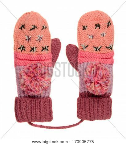 Mittens Isolated On White Background. Knitted Mittens. Mittens Top View.red Pink Mittens