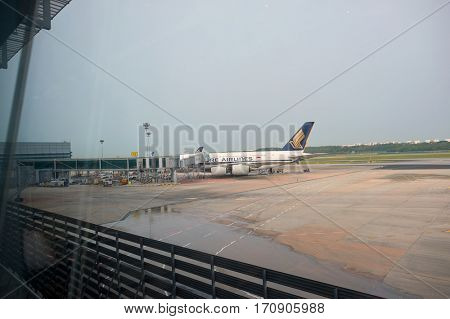 SINGAPORE - CIRCA NOVEMBER, 2015: Singapore Airlines Airbus A380-800 at Singapore Changi Airport. The Airbus A380 is a double-deck, wide-body, four-engine jet airliner.