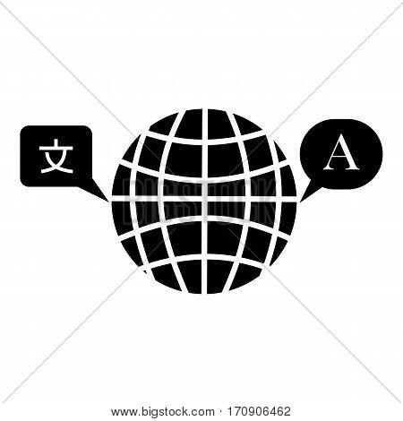 Globe launguage icon. Simple illustration of globe launguage vector icon for web
