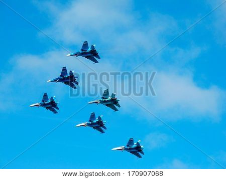 Six russian military fighter jets during demonstration