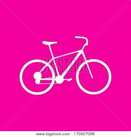 Bicycle, Bike sign. White icon at magenta background.