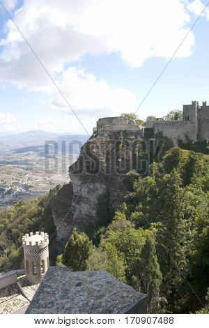Castle of Veneri (Castelo di Veneri), in the town of Erice, Sicily, Italy overlooking the mountains, woods and town below