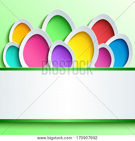 Greeting or invitation card with colorful 3d Easter egg cutting paper. Trendy festive abstract background with place for text. Beautiful creative modern wallpaper. Vector illustration