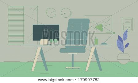 Office workplace with table, bookcase, windows. Flat colorful illustration