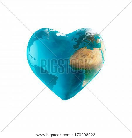 3D Illustration - The earth with heart shape isolated on white background