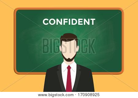 confident person illustration with a man wearing a black suit in front of green chalk board and white text vector