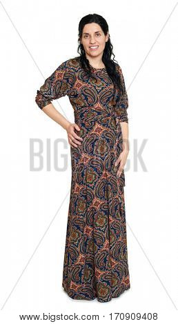 woman in long dress with oriental pattern, white space background