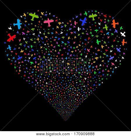 Aircraft fireworks with heart shape. Vector illustration style is flat bright multicolored iconic symbols on a black background. Object valentine heart created from scattered pictograms.