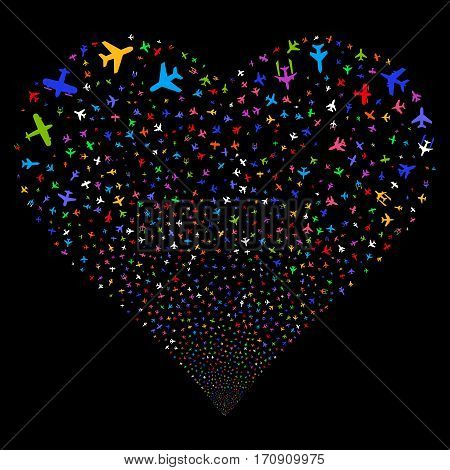 Airplanes fireworks with heart shape. Vector illustration style is flat bright multicolored iconic symbols on a black background. Object salute organized from scattered pictographs.