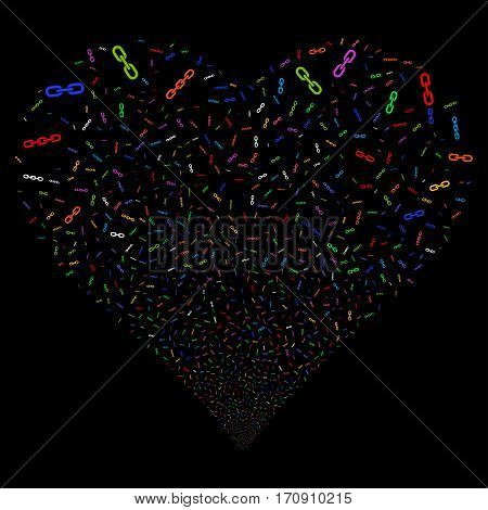 Chains fireworks with heart shape. Vector illustration style is flat bright multicolored iconic symbols on a black background. Object valentine heart done from scattered pictograms.