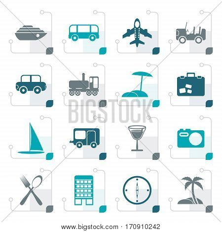 Stylized Travel, transportation, tourism and holiday icons - vector icon set