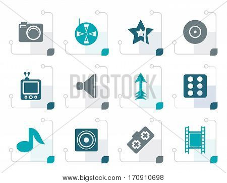 Stylized Entertainment Icons - Vector Icon Set