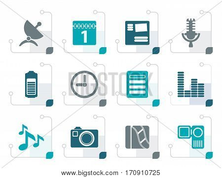 Stylized Mobile phone performance icons - vector icon set