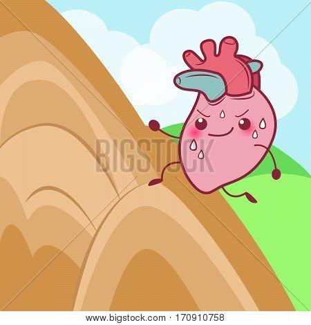cute cartoom healthy heart climb moutain hardly
