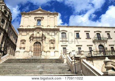 View of the church of Saint Francis and the monastery of SS Salvatore in the town of Noto, Sicily, Italy
