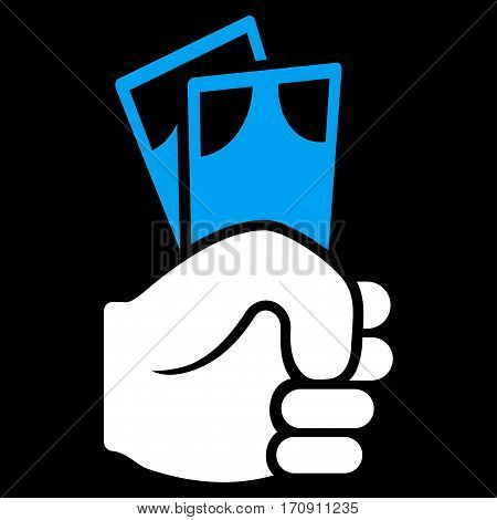 Banknotes Salary Hand vector icon. Flat bicolor blue and white symbol. Pictogram is isolated on a black background. Designed for web and software interfaces.