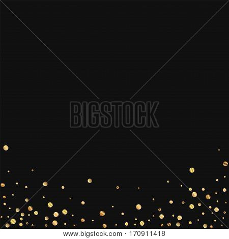 Sparse Gold Confetti. Abstract Bottom On Black Background. Vector Illustration.