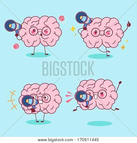 cute cartoon brain take microphone do different emotion