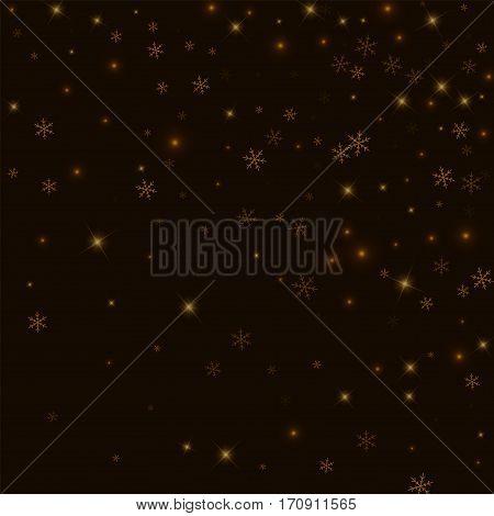 Sparse Starry Snow. Random Gradient Scatter On Black Background. Vector Illustration.
