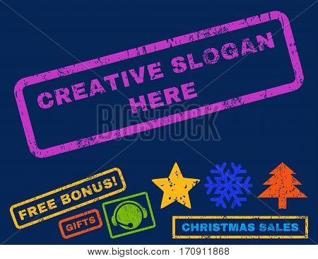 Creative Slogan Here text rubber seal stamp watermark with bonus christmas symbols. Tag inside rectangular shape with grunge design and scratched texture.