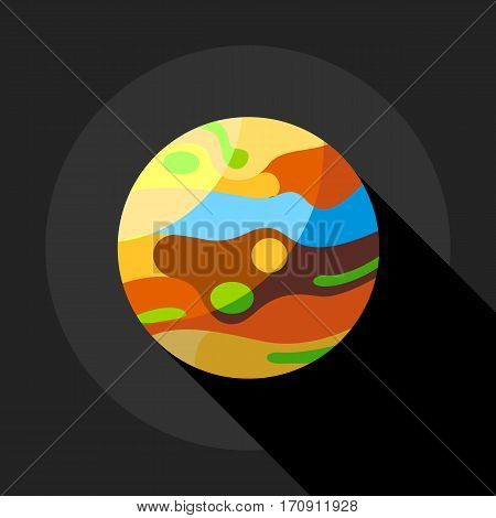 Multicolored planet icon. Flat illustration of multicolored planet vector icon for web