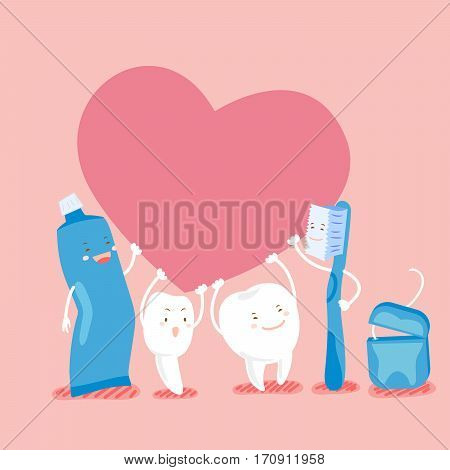 cute cartoon tooth hold heart with floos and toothpaste