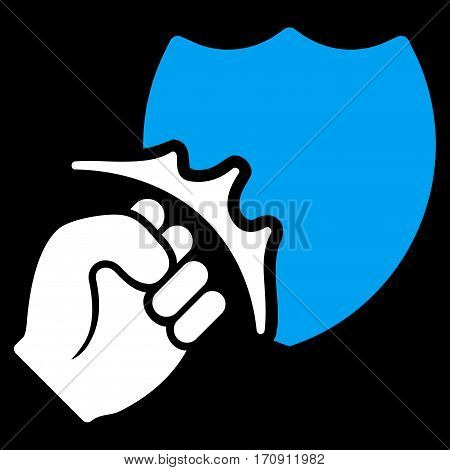 Fist Strike Shield vector icon. Flat bicolor blue and white symbol. Pictogram is isolated on a black background. Designed for web and software interfaces.