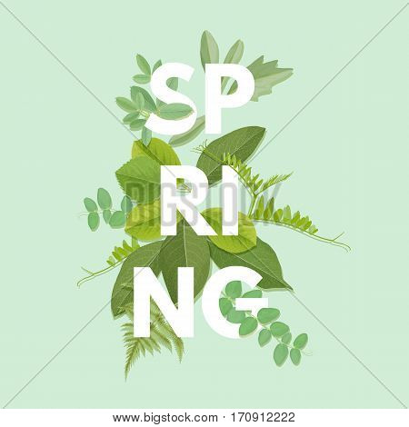 Spring letter with green leaves. Season sale vector label. Foliage lettering. Floral illustration. Springtime poster. For t-shirt, fashion, prints, banner or packaging design