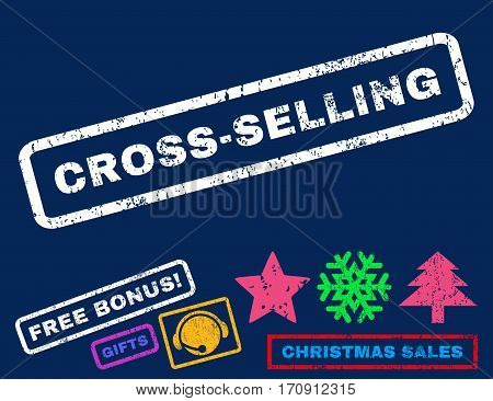 Cross-Selling text rubber seal stamp watermark with bonus new year symbols. Tag inside rectangular shape with grunge design and dust texture.